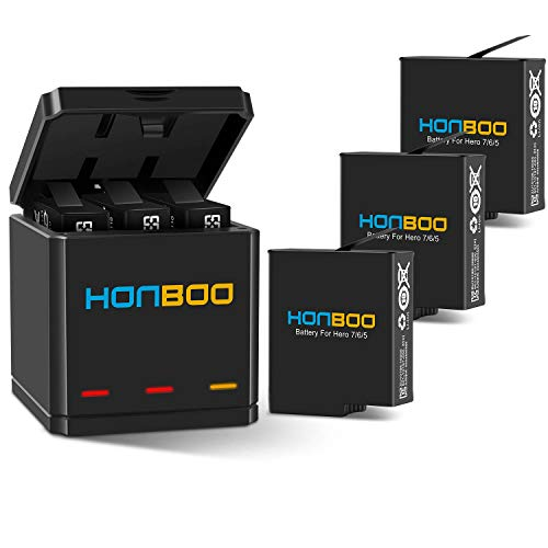 (HONBOO Batteries (3-Pack) and Triple Charger for GoPro Hero 7/6/5 Black,Rechargeable Battery Accessories for GoPro Camera)