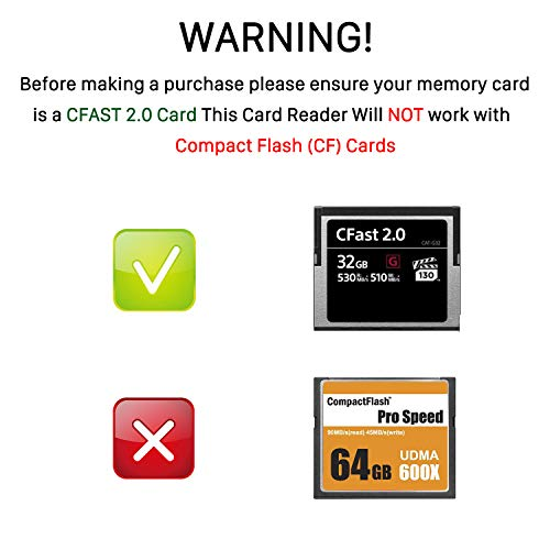 CFast Card Reader, BYEASY CFast 2.0 Reader via USB 3.0 or USB C Port, Portable Professional CFast Memory Card Reader with Thunderbolt 3 Port Using for Sandisk, Lexar, Transced, Atomos, Snoy Card More by BYEASY (Image #5)