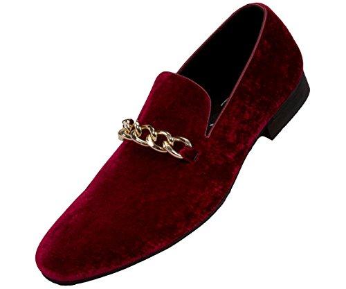Amali Fay Velvet Mens Slip-On Shoes with Gold Chain Ornament Dress Shoes for Men Velvet Formal Loafers for Men The Original Smoking Men Tuxedo Dress Shoes