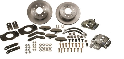 (SSBC W125-3R At The Wheels Rear Disc Brake Conversion Kit with Red Calipers)