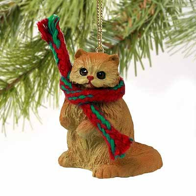 Persian Cat Tiny Miniature One Christmas Ornament Red for sale  Delivered anywhere in USA
