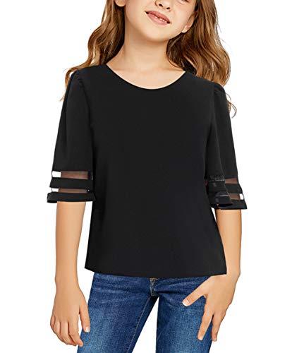 TENMET Girls Summer Bell Sleeve Panel Tee Tops Casual Keyhole Back Loose Shirt (4-13 Years) Black