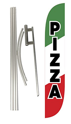 LookOurWay Pizza Feather Flag Complete Set with Pole and Ground Spike, Green