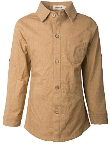Tan Boys Shirt (Ipuang Little Boys Linen Long Sleeve Button-Down Collar Shirt Top 2t Tan)