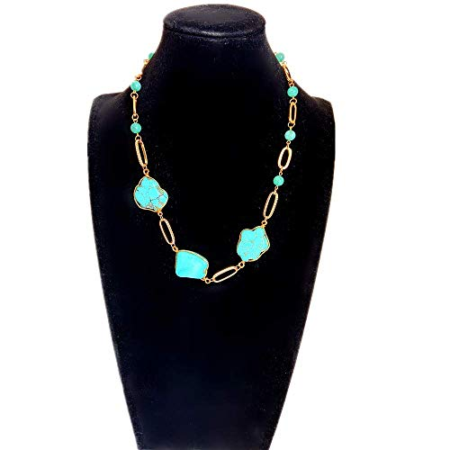 21AE Handmade Boho Tuiquoise Necklace Fashion Jewelry Statement Natural Stone Fashion Pendant Vintage Choker Necklace for Women Girls (T6)