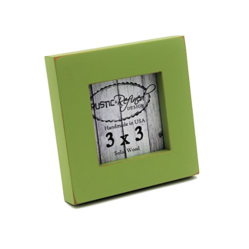 3x3 Solid Wood Made in USA Picture Frame with 1 Inch Border (Gallery Collection) - Green Apple (Apples Photo Border)