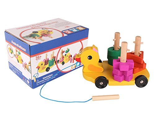 Pull Along Toy,Wooden Duck Toy with Educational Peg Puzzle for Toddlers' Shape & Color Sorting by Hero Selected (Image #6)