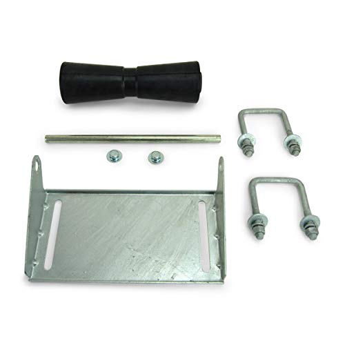 Sturdy Built 12 inch Black Rubber Boat Trailer Keel Roller and Bracket Kit for 3x3 Cross Members