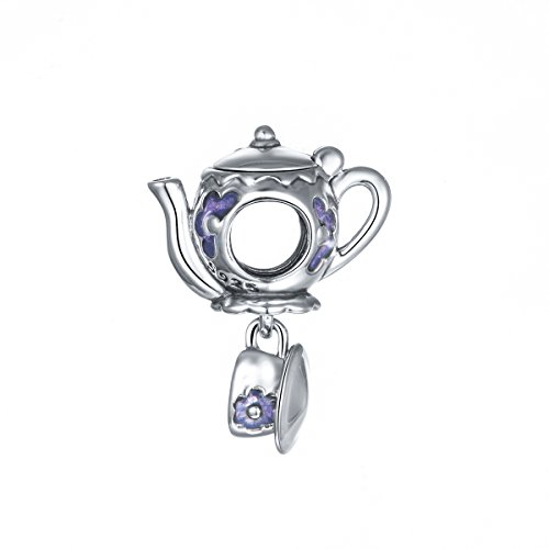 Globalwin 925 Sterling Silver Disney Mad Teapot Cup Set Purple Enamel Charms Fit Pandora Bracelets for Women