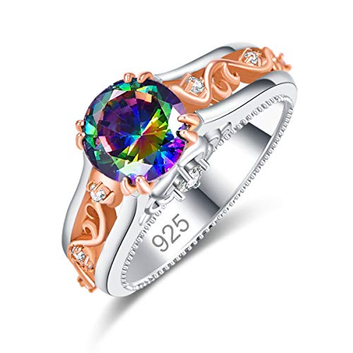 Veunora 925 Sterling Silver Plated Lab-Created Rainbow Topaz Rose Gold Promise Proposal Engagement Wedding Rings for Women Girl Size 8
