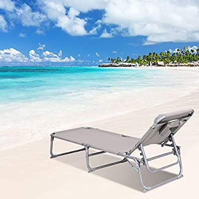Goplus Adjustable Chaise Lounge Chair Recliner w/Sunbathing Tanning Face Down Hole for Beach Outdoor Pool Patio Deck