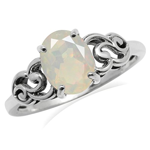 OV 9x7mm Genuine Opal 925 Sterling Silver Victorian Style Ring Size 10 ()