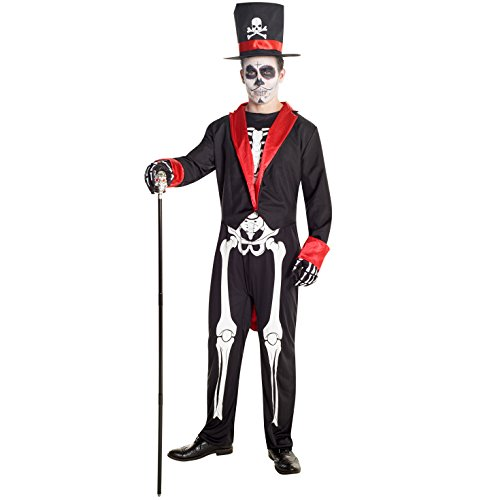 Mens Sugar Skull Day of the Dead Skeleton Costume Costume