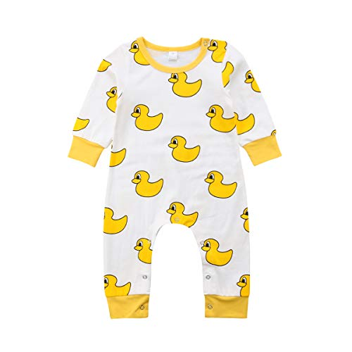 XBRECO Newborn Baby Boy Girls Halloween Jumpsuit,Long Sleeve Clothes Romper Pajamas Coveralls Outfit (18-24 Months, Duck)]()