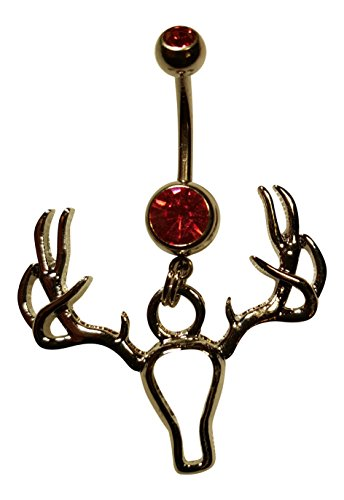 (10 Point Buck Antler Deer Rack Belly Button Ring On A 14 Gauge Surgical Steel Pink Charm Barbell In Gift Box)