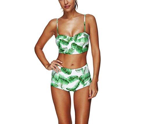 Frauen Tankini Bademode Bikinis Badeanzüge Tankini 2 Stück Sets Retro Gedruckt Hohe Elastizität Schwimmen Kostüm Plus Größe (M-XXXL) A vfL8H