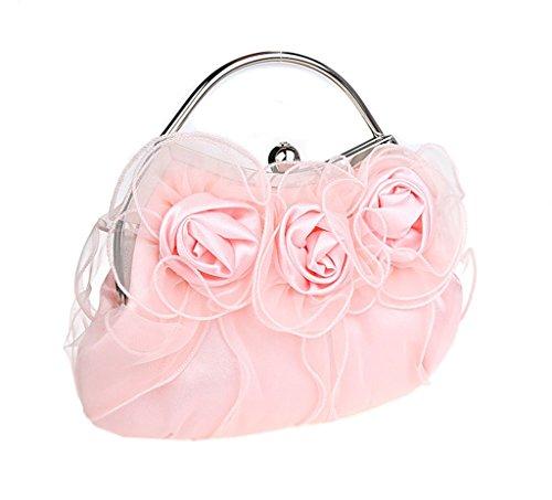 en Pochette fleur pour multicolore soiree mariage de Nouveau sac rose pink a Heyjewels main satin x0BS5wqORO