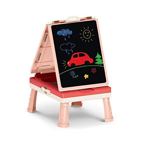 YAXY infantil plegable 3-en-1 escritorio caballete |Arte y creativo de los ninos Pintura Pizarra, Pizarra Y Tarjeta magnetica, tablero de dibujo portatil, Junta Doodle, tablero de escritura, Caballete