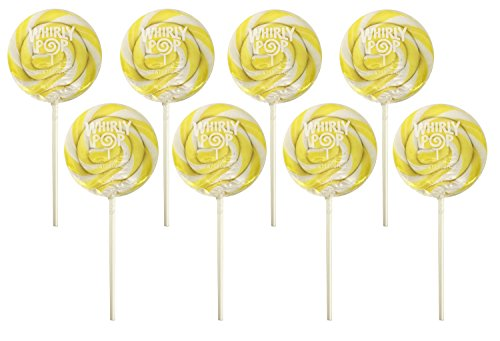 Adams Brooks Whirly Pop Lollipop Swirl Party Candy , Yellow Lemon 1.5 Oz ( 8 Count )