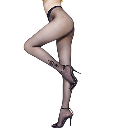 INCHER 10 Den Silky Sheer T Crotch Solid Color Compression Tights Support Stocking Black