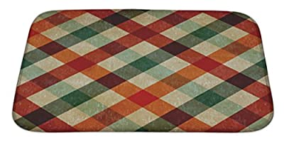 Gear New Vintage Checkered Tablecloth Pattern Bath Rug Mat No Slip Microfiber Memory Foam