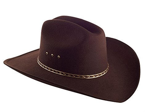 Faux Felt Wide Brim Western Cowboy Hat - Brown – (Brown Felt Hat)