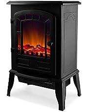 Elektro Kamin Elektrischer mit Heizung LED Kaminfeuer Effekt 2000W schwarz Flammeneffekt Heizer Ofen