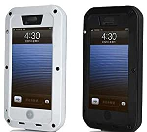 DKX Hybrid Aluminum Metal Chrome Case WaterShock Dustproof Shockproof Cover Shell For Apple iPhone 4 4G 4S-White