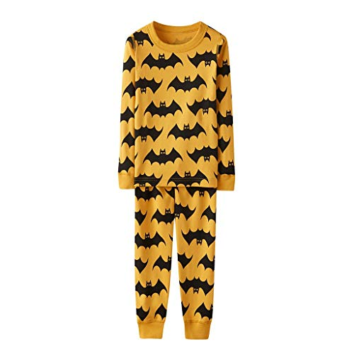 Family Matching Pajama Set 2 Pcs,Crytech Comfy Soft Halloween Bat Pattern Striped Long Sleeve Sleepshirt Top and Lounging Pant Parent Kids Child Nightgowns Pjs Sleepwear Outfit (2-3 Year, Kid)