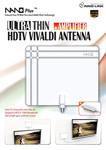 Nano Plus HDTV Amplified Antenna - Ultra Thin High Performance with Active Amplfier for Increased Performance