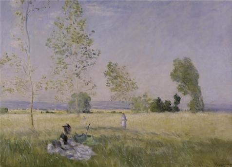 ポリエステルキャンバス、最高の価格アート装飾用プリントキャンバスの油絵`クロードmonet-summer、1874年`、18x 25インチ/ 46x 63cmは最高のロビーアートワークとホームギャラリーアートとギフトの商品画像