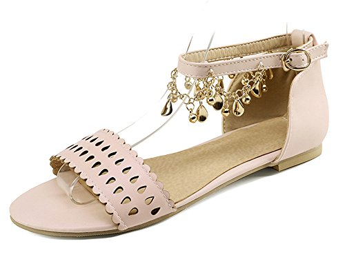 Aisun Women's Comfy Open Toe Dress Buckle Strap Flat Sandals Shoes With Ankle Straps