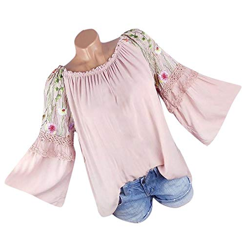 HGWXX7 Women Tops Long Sleeve Floral Embroidery Lace Flare Sleeve Blouse T-shirt(S,Pink)