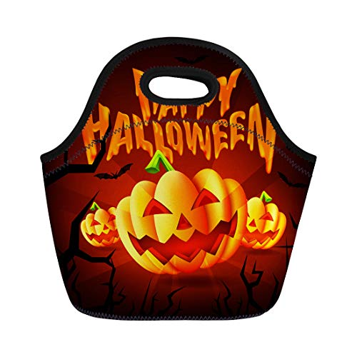 Tinmun Lunch Tote Bag Orange Happy Halloween Party Scary Pumpkins and Flying Bats Reusable Neoprene Bags Insulated Thermal Picnic Handbag for Women Men ()