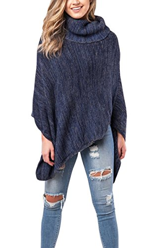 Hibluco Women Casual Turtle Neck Knitted Poncho Pullover Sweater Tops (One Size, Blue) (Poncho Turtleneck)