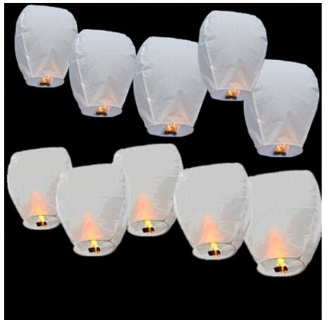 20 x Eco-Friendly Sky Lanterns for Christmas, New Year, Chinese New Year, New Years Eve, Weddings & Parties (40cms 58cms x 105cms) (White) Digital Additions White Lanterns x 20