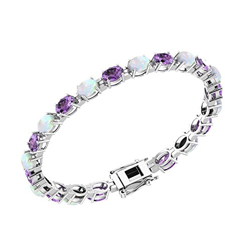 Solid Sterling Silver 6x4mm Oval Cut 6.5 CTW Lab-grown Opal and Amethyst Brilliant Sparkle Tennis Bracelet for Women, Box Chain with Safety