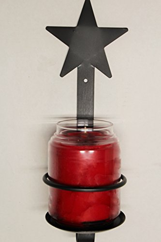Wrought Iron Jar Candle Star Sconce - Hand Made By Amish - Holds a Jar Candle 4