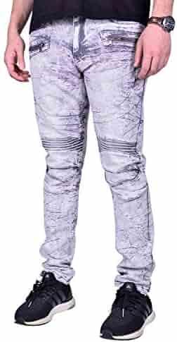 62aeb3bb Waimea Mens Moto Slim Fit Denim | Comfortable Skinny Stretch Biker Jeans  with Zipper Detail