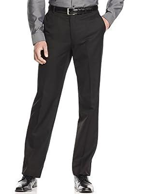 Calvin Klein Slim Fit Black Solid Wool Flat Front New Men's Dress Pants