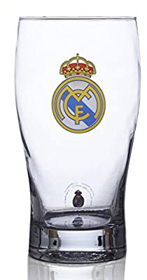 Real Madrid FC Pint Glass - Great For Soccer Fans - 100% Licensed Product - Collector's Design - Authentic Imported Beer Glass - Real Madrid FC Pint Glass