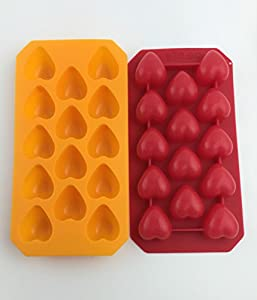 (Save Now! Discount Savings!) 2 Pk Bonison Versatile Hot & Cold Use Non-stick Non-slippery Soft Silicone Heart-shape Ice Cube Mold Tray (2 Molds Per Packaging, Random Colors)