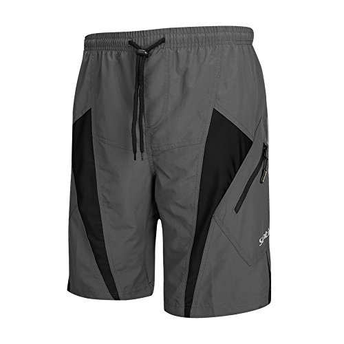 SANTIC Men's 4D Padded Bikes Shorts Loose Comfort Breathable Fitting Mountain Bike Shorts Grey/Black XL