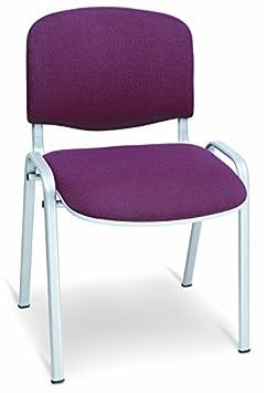 Sedia Da Ufficio Poltrona Fissa per Sala attesa impilabile in alluminio e cotone arancio arancione Europrimo