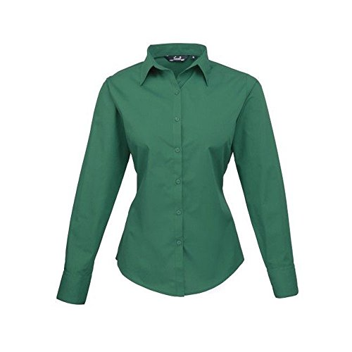 Blusa de manga larga de popelina para mujer verde esmeralda