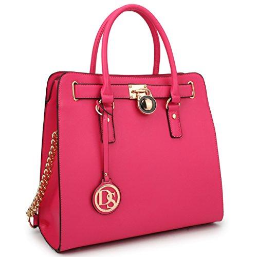 DASEIN Fashion Top Belted Tote Satchel Designer Padlock Handbag Shoulder Bag for Women (single bag (Inspired Tote Handbag)