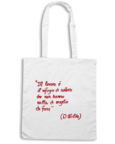 T-Shirtshock - Borsa Shopping CIT0124 Il lavoro e il rifugio di coloro che non hanno di meglio da fare Oscar Wilde Bianco