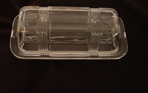 Hazel Atlas Clear Depression Glass Criss-Cross Covered 1/4 Lb. Butter Dish