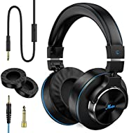 Moukey Dj Headphones-Studio Monitor & Mixing Dj Stereo Headsets -Wired Over Ear Headphones with 1/4 to 3.5