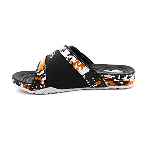 Boombah Mens Tiranno Sandali Per Slide Camo Digitali - 11 Opzioni Di Colore - Più Dimensioni Nero / Arancione